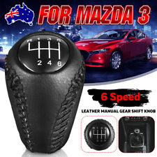 6 Speed Car Manual Gear Shift Knob Hand Leather For Mazda 3 5 6 / CX-7 MX-5 New