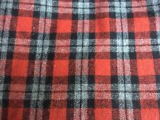 Red/Black Wool Plaid Wool Fabric By The Yard