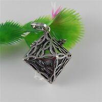 Pendants Making Accessories Hollow Cube Brass Locket Retro Silver Crafts Jewelry