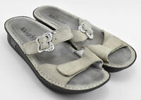 WOMENS ALEGRIA SANDALS SHOES SIZE 38 EU 8 - 8.5 EU GRAY BUCKLE BUTTERFLY LEATHER