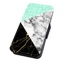 Mint Mix Marble Pattern Printed Flip Phone Case for iPhone and Samsung