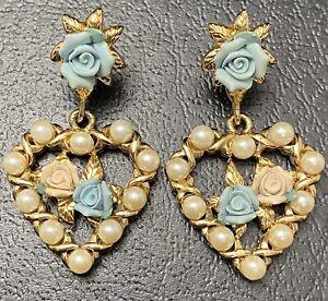 Vtg Heart Porcelain Rose Earrings Faux Pearl Blue Flowers Dangle Costume Jewelry