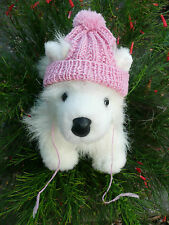 100% Wool  XS handmade knit Pink dog hat