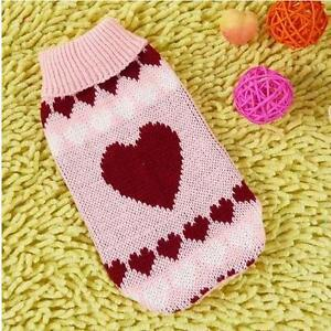 Dog Sweater Pink Hearts Clothes Knitted Jacket Jumper Puppy Coat Chihuahua XS-XL