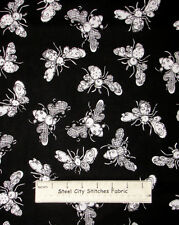 Loralie Designs Bee Happy Busy Bees Bumble Bee Toss Black Cotton Fabric 1.5 Yds