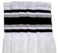 "30"" OVER THE KNEE WHITE tube socks with BLACK/GREY stripes style 4 (30-17)"