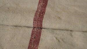 Antique European Feed Sack GRAIN SACK Red Stripes #3864