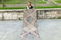 FLORAL ANATOLIAN VINTAGE OUSHAK TURKISH COLORFUL RUNNER DECORATIVE DESIGN RUG