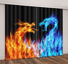 Hot 3D Printing Window Curtains Blockout Fabric Abstract Blue & Red Fire Dragons