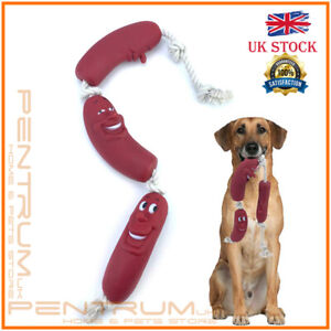 3pcs Sausage Rope Dogs Puppy Toy 35cm Pets Fetch Teething Silicone Fun Playtime