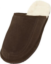 Lambland Mens - Ladies Suede Mule Slipper with Full Wool Lining and Hard Sole