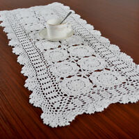 White Vintage Hand Crochet Cotton Doilies Lace Table Runner Table Mats 40x90cm