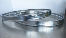 """Set (2) 22"""" Bass Drum Hoops Metal Chrome Finish Rounded Edge Inlay New Old Stock"""
