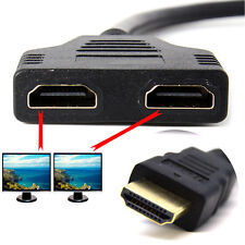 New 1X HDMI Male to 2X HDMI Female Y Splitter Switch Adapter Cable Fast Shi