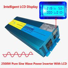 2500W/5000W Peak Pure Sine Wave Power Inverter DC 24V to AC 230V Car Caravan LCD