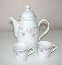ROYAL DOULTON LAMBETHWARE FRESH FLOWERS MAYFAIR COFFEE  POT & 2 SM COFFEE CUPS