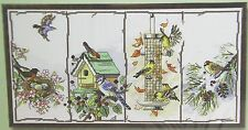 Counted Cross Stitch Birdhouse Bird Feeder Four Seasons Birds by Janlynn 18 x 10