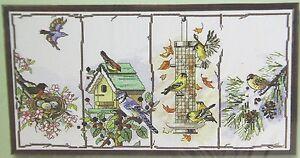 Counted Cross Stitch Birdhouse Bird Feeder Four Seasons Birds by Janlynn 18 x 10