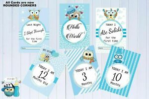 """Baby Milestone Cards Owls Pack of 30 Cards Boys Blue New Baby Gift New Mum 6""""x4"""""""