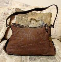 FOSSIL MODERN VINTAGE BROWN FABRIC/LEATHER HOBO HANDBAG 9 H X 14 L X 5 DTH X10 D