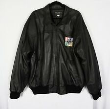 Michael Alle New York All Star Cafe Black Leather Bomber Jacket Coat Sz XXL Mens