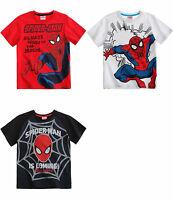 New boys licensed Marvel Spiderman t-shirt short sleeve crew neck cotton 2-8 yrs