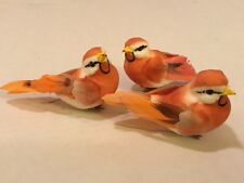 "3 ORANGE & WHITE ARTIFICIAL BIRDS FOR CRAFTS FLORAL WREATHS!   3""  LONG"