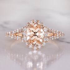 1.23ct MORGANITE .42ct DIAMOND ENGAGEMENT RING OVAL HALO SPLIT SHANK ROSE GOLD