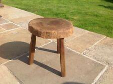 Vintage 3 Legged wooden Cross cut Log Milking stool