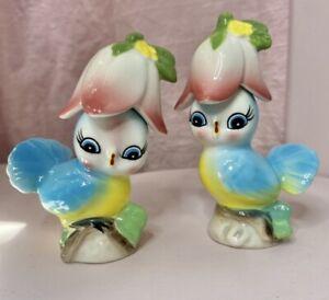 Vintage 1950s Kitsch Lefton Blue Birds with Tulip Hats Salt & Pepper Shakers