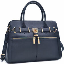 New Dasein Women Padlock Leather Work Satchel Handbag Purse Tote Bag Day Purse