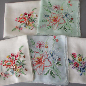 5 Vintage Handkerchiefs Hand Embroidered APPENZELL Drawn Thread Work FLOWERS