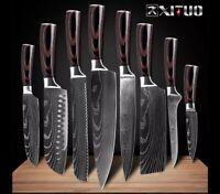 Japanisches Küchenmesser Messerset - Profi Kochmesser Damaskus 8tlg.