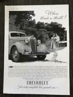 1936 Chevrolet Print Ad Where Three's a Thrill