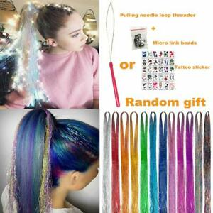 """250 Strands Holographic Sparkle Woman Hair Extensions Glitter Tinsel Dazzles 48"""""""