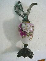 VERY NICE ANTIQUE VICTORIAN FLORAL DECORATED ART GLASS ORNATE METAL MANTEL EWER