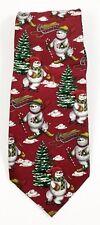 Men's Christmas Necktie Snowman on Skis 100% Silk Santa's Dream Red Holiday Tie