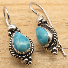 Beautiful Simulated  LARIMAR Gemstone Earrings For Girls ! 925 Silver Plated