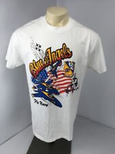 VTG 90s Blue Angels Fly Navy White Military S/S Fighter Aircraft Jet T-shirt L