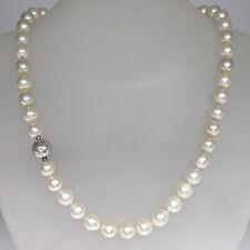 Perlenkette Collier 47 Akoya-Zuchtperlen mit 750/18K Weißgold Patent-Verschluß