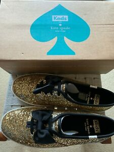 LADIES/WOMEN'S KATE SPADE FOR KEDS SPARKLY GOLD BOW TRAINERS SIZE UK 5/EU 38