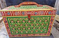 Vtg Wooden Box storage Artist Hand Painted Pattern design MultiColor Wood Handle