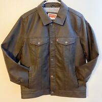 LEVI'S Men's Faux Leather Jacket Full Zip Size S Dark Brown NEW $180
