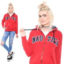 Vtg 90s NAUTICA Spell Out Logo Hip-Hop Tommy Hooded Sweatshirt Jacket Hoodie S
