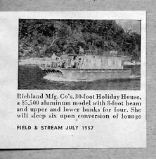 1957 Magazine Photo Richland Mfg 30 ft Holiday House Aluminum Houseboats