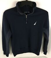 Nautica Quarter-Zip Pullover Sweater XS Navy Blue Spell Out