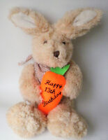 13th Birthday Gift cream big footed bunny rabbit with carrot 22cm sitting