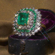 Vintage White Gold Emerald White Sapphire Ring Women Wedding Engagement Jewelry