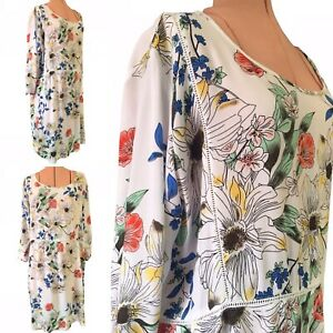 Ridley designer dress floral broderie anglaise womens shift dress plus size XL