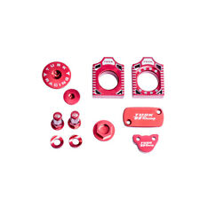 TUSK BILLET BLING KIT RED Brake Oil Cap Axle Blocks CRF250R CRF250X CRF450R 450X